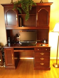 Brown wooden computer desk with hutch Elkridge