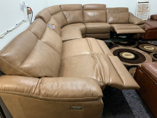 Bari Sambuca 6 Piece Sectional Couch With 3 Recliners And Headrests