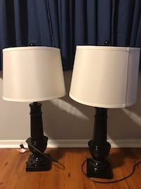 Two black base white shade table lamps Port Allen, 70767