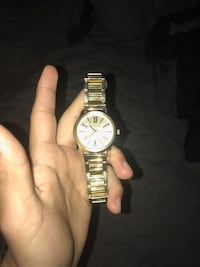 Round silver-colored analog watch with link bracelet 44 mi
