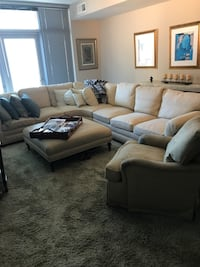 Beautiful Custom Crafted Sectional Sofa with Leather Ottoman and Swivel Chair
