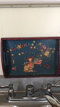 America themed artwork with red wooden frame