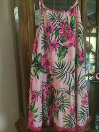 white, pink, and green floral sleeveless dress Cedar Bluff, 35959