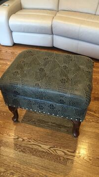 Black and brown leopard print leather ottoman Roselle, 07203