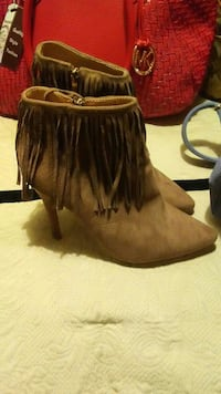 brown leather fringe side-zip boots