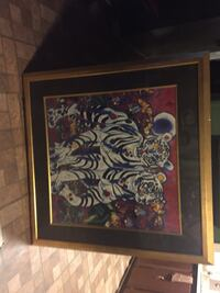 brown wooden framed painting of flowers 1950 mi