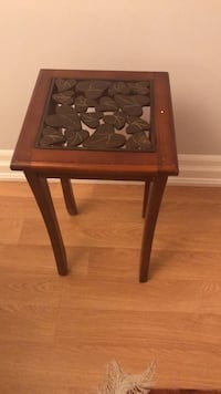 Brown wooden framed metal top side table Toronto, M2J 3A3