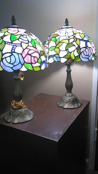 Leaded stained glass pair of lamps Mobile