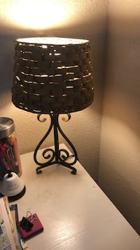 black metal base with black lampshade table lamp
