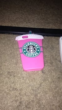 pink, green, and white Starbucks Coffee iPhone case
