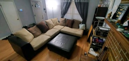 L-Sectional Couch with Ottoman and Large Swivel Chair