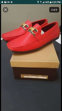 pair of red leather Gucci loafers on box screesnhot Montgomery Village, 20886