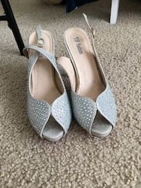 pair of women's gray beaded leather peep-toe sling-back pumps