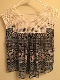 Medium multi pattern blouse with lace top detail. Barely worn   Dallas, 30132