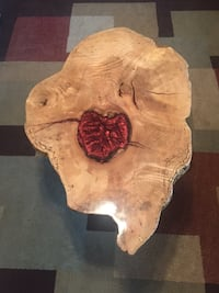 "Handmade (by us) red resin live edge mulberry accent table 24""H x 35.5""L x 17.5"" H. Wood itself is 1.5"" thick Hagerstown, 21742"