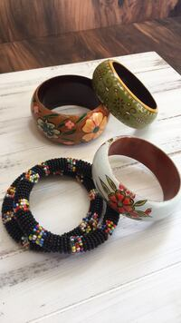 Ladies wood and beaded hand painted bangles.  Five count. Bryans Road, 20616