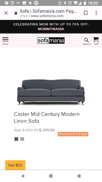 black leather 3-seat sofa screenshot Arlington, 22206