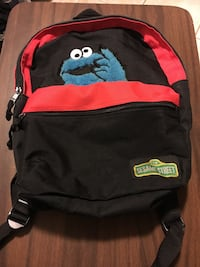 red and black Sesame Street backpack