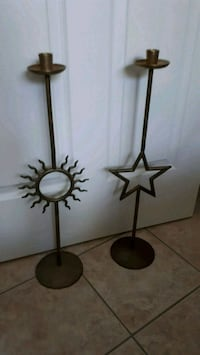 Star and Sun Brass Candle Holders Pointe-Claire