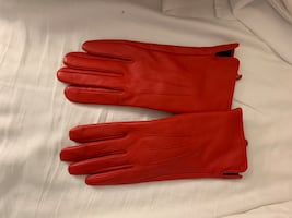 Red leather gloves size 7.5