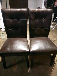 Set of Brown Leather Bar Stools