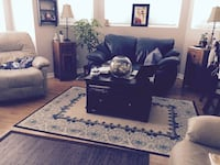 Navy blue leather sofa  Laval, H7K 3X8