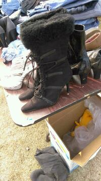 pair of black leather boots Stockton