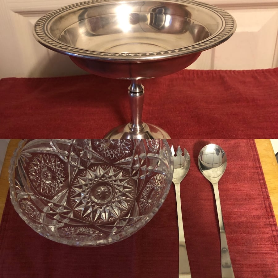 Crystal Salad Bow w/SilverFork/Spoon and Silverplate Candy Dish-$15 ea 35f6ee78-9017-4848-a641-fec6d3235539