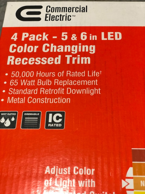 Commercial electric 5/6 in matte white integrated LED recessed trim 5-ways  (4-pack)