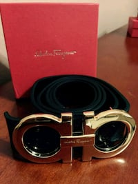 Ferragamo Black Belt with Gold Buckle Houston