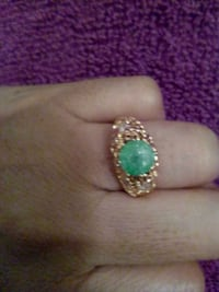 gold-colored and green gemstone encrusted ring Whittier, 90602