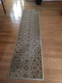 Gray and brown symmetrical floral runner rug