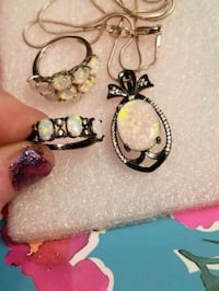 Black gold filled white opal ring and necklace set West Valley City, 84120