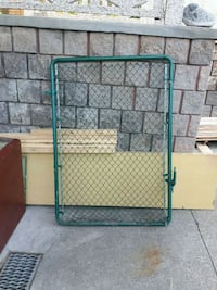 Green rubberized Chain link fence gate