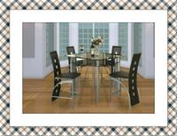 Counter height glass table with 4 chairs McLean