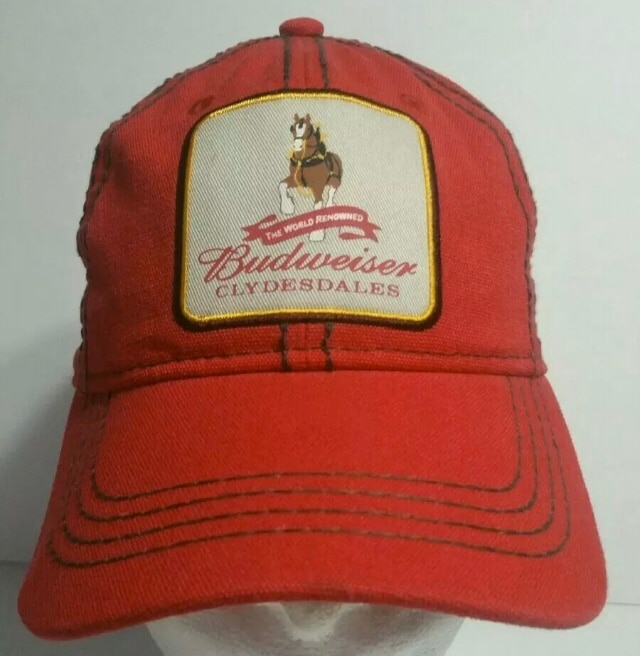 Photo Vintage Budweiser World Famous Clydesdale Horses Red Hat Strap Back