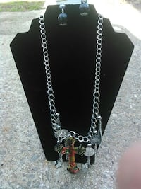 red and silver cross pendant silver chain necklace Red Lion, 17356