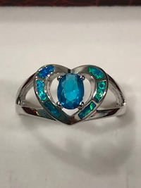 925 sterling silver simulated blue topaz and opal heart ring