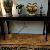 Handcarved wood console table with glass top Toronto, M2N 5W4