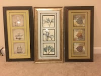 three brown wooden framed paintings of flowers Ashburn, 20148