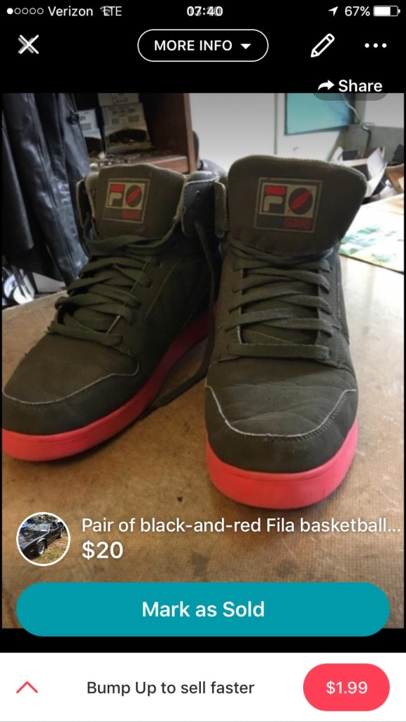 Used Gray Fila high top basketball shoes screenshot for sale in East Haven letgo