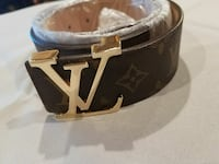 brown Louis Vuitton leather belt