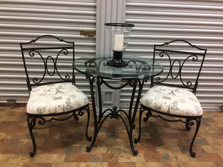 used bombay co wrought iron and glass table and 2 chair bistro set rh us letgo com