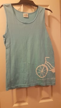 women's gray and white bike printed crew-neck tank top Mobile