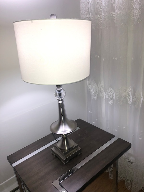 stainless steel base white shade table lamp