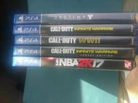 five assorted PS4 game cases Bakersfield, 93305
