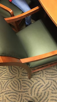 brown and gray padded armchair