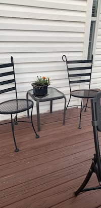 Final price 2 steel chairs &  table
