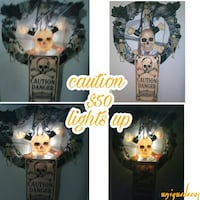 ***SALE $40****Caution light-up skeleton wall lamp Balcones Heights, 78201