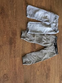 two gray and white cargo shorts